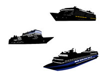 Cruise set 2. Set of Three cruise ship Stock Image