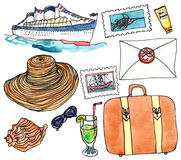 Cruise set - watercolor painting on white background. Set of siutcase, cruise ship, hat, letter, sunscreen and other elements of cruise trip Royalty Free Stock Images