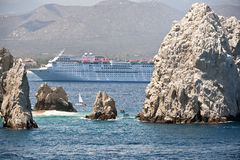 Cruise Ship. At the Cabo San Lucas where Mexico Sea of Cortez meets the Pacific Ocean Stock Photos