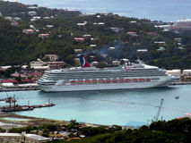 Cruise ship. Criuse ship docked in St. Thomas Royalty Free Stock Images