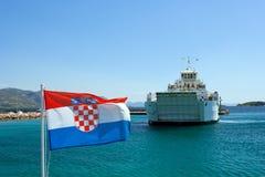 Cruise Ship. On Adriatic Sea in Dalmatia Stock Photos