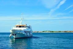 Cruise Ship. On blue sea Stock Photo