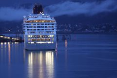 Cruise ship. In Juneau Alaska. Docked at night in the harbor Stock Photo