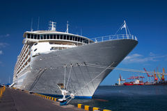 Cruise ship. A luxury cruise ship docked in the port Stock Image