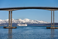 Cruise ship. In a norwegian fjord Stock Photo
