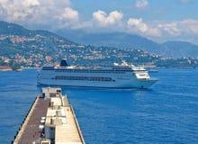 Cruise ship. Luxury cruise ship in sea port of Monte-Carlo, Monaco stock photo