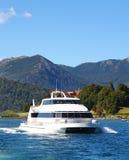 Cruise ship. A beautiful cruise ship sailing the San Carlos de Bariloche's (Argentina) Lake Nahuel Huapi Royalty Free Stock Photos