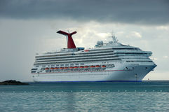 Cruise ship. Big Cruise ship after tropical storm by Bahamas Royalty Free Stock Images