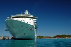 Cruise ship. Large cruise ship viewed from the front while docked Royalty Free Stock Image
