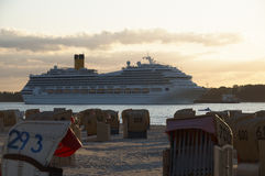 Cruise ship. Passes by the beach Royalty Free Stock Image