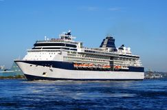 Cruise ship. A cruise ship traveling in pacific ocean royalty free stock photos