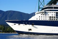 Cruise ship. A closeup of a cruise ship bow royalty free stock photo