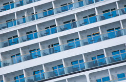 Cruise Ship. View of side of cruise ship showing the sea view cabins Stock Photos