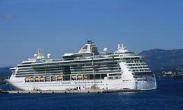 Cruise ship. Near Corfu island, Greece royalty free stock photo