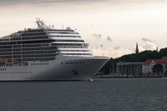 Cruise ship. Leaves the harbor of Kiel in Germany Stock Photo