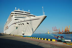 Cruise ship. Big cruise ship docked in a sea port Royalty Free Stock Images