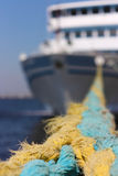 Cruise ship. Docked with ropes tied up Royalty Free Stock Photos