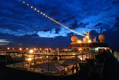 Cruise ship. Top deck during dusk Royalty Free Stock Photos