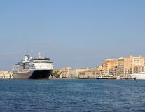 Cruise ship. A view of a large cruise ship docked along the waterfront of Trapani, Italy Stock Photo