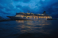 Cruise ship. The ship at night in sea harbor royalty free stock photo