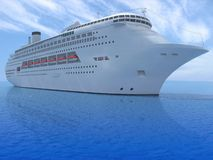 Cruise ship. Luxury white cruise ship in the ocean Stock Photography