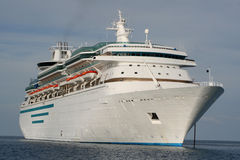 Cruise Ship. Large luxury cruise ship anchored in the ocean Royalty Free Stock Images