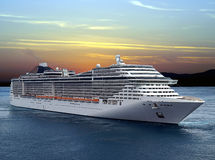 Cruise ship. Luxury cruise ship sailing from port on sunset