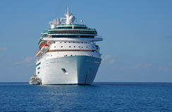 Cruise ship. Huge cruise ship in tropical waters Royalty Free Stock Photography