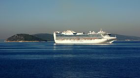 Cruise ship. Big white cruise ship, the Adriatic sea near Split, Croatia Stock Photo
