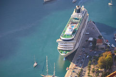 Cruise ship. A big cruise ship docked, view from above Royalty Free Stock Image