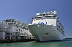 Cruise ship. A cruise ship in the port of Auckland stock images