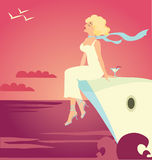 Cruise ship. Vector illustration of girl on the cruise ship stock illustration