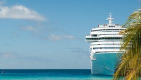 Cruise ship. White cruise ship and palm tree Stock Photos