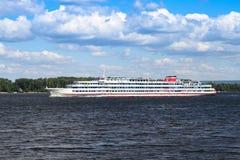 Cruise ship. White cruise ship on the river Volga Royalty Free Stock Image