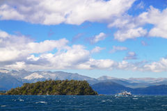 Cruise ship. A beautiful cruise ship sailing the San Carlos de Bariloche's (Argentina) Lake Nahuel Huapi royalty free stock photography