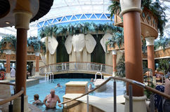 Cruise Ship. Cruise Ship, Radiance of the Seas. Its solarium adults swimming pool. A beautiful luxurious holiday on the seas Stock Photos