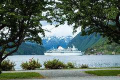 Cruise ship. In the Norwegian Fjords Stock Photography