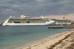Cruise Ship. At dock with dark sky after a storm Stock Photo