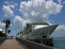 Cruise ship. Docked in a small port Royalty Free Stock Photography