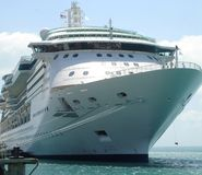 Cruise ship. Docked in a small port Royalty Free Stock Photo