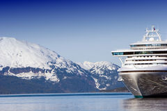 Cruise ship. Docked Alaskan cruise ship in the ocean