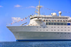 Cruise ship. Ploughing the sea in a sunny day Stock Photos