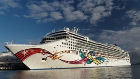 Cruise ship. Colorful cruise ship docked in a port Royalty Free Stock Photography