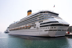 Cruise ship. Portrait of a  cruise ship docked in the marina of Savona - Italy Stock Photos