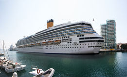 Cruise ship. Portrait of a large cruise ship docked in the marina of Savona - Italy Stock Images