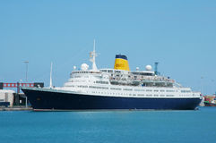 Cruise ship. Visiting isles canaries in Spain Stock Image