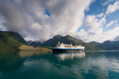 Cruise ship. On glacial water of Norwegian fjord Royalty Free Stock Image