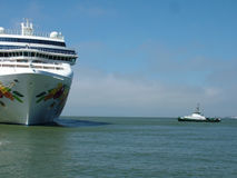Cruise Ship. In a harbor royalty free stock photo