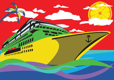 Cruise ship. Abstract vector illustration of a cruise ship with a palm, clouds above it and a lemon instead of the sun. Image in is pop-art style stock illustration