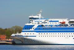 Cruise ship. Big white passenger cruise ship royalty free stock image